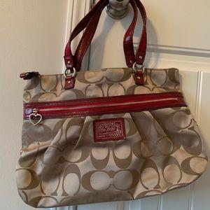 Cream & Red Coach shoulder bag
